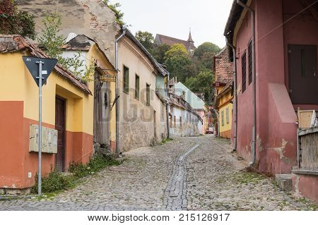 Sighisoara Romania October 08 2017 : Street carpenters in the old city of Sighisoara in Romania