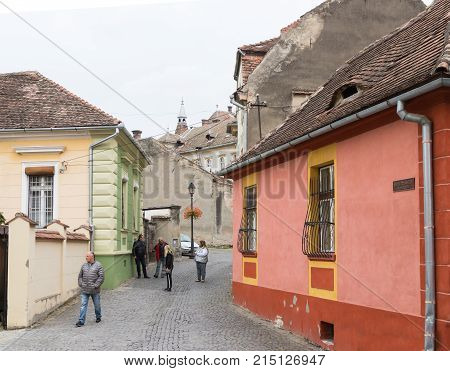 Sighisoara Romania October 08 2017 : Monastery street in the castle of old city. Sighisoara city in Romania