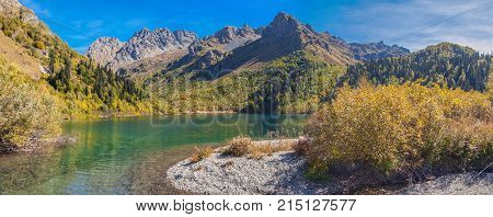 The source of the Mzymta River. Lake Kardyvach. Caucasian Biosphere Reserve. Near Sochi, Russia
