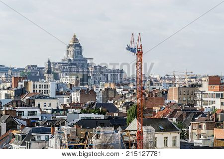 BRUSSELS - JUNE 18, 2017: Panoramic view of the City of Brussels. Brussels is the capital of Belgium and the seat of the authorities of the European Community.
