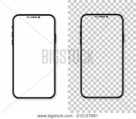 New Version Of Black Slim Smartphone With Blank White Screen. Realistic Vector Illustration
