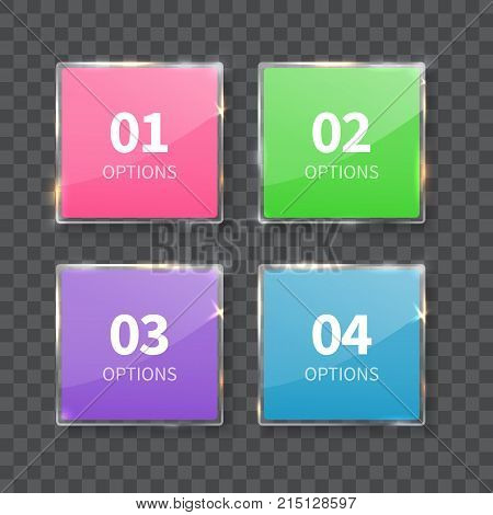 Glass squares numbers set isolated on gray background. Realistic vector illustration for infograpic, layout, diagram, number options, web design.