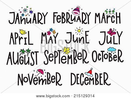 Months of the New Year simple lettering. Calligraphy calendar card graphic design element. Hand written sign. Overlay agenda vector. December January November March April May June October September poster