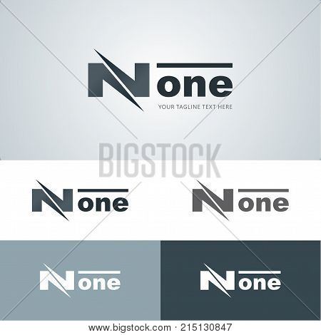None with a flashy N and line over one logo design template