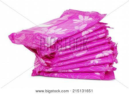 vivid pink sanitary pad package for woman hygiene protection isolated on white background with shadow poster