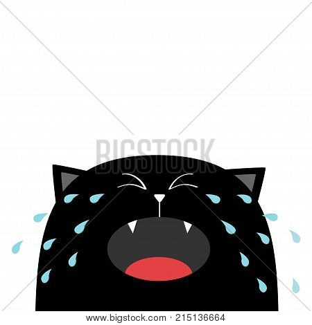 Black cat face head silhouette screaming crying tears. Cute cartoon character. Kawaii animal. Baby card. Pet collection. Flat design style. White background. Isolated. Vector illustration