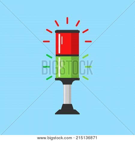 Flashing red and green alarm signal. Flasher alert icon. Simple flat vector illustration