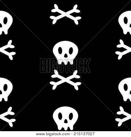 Skull with bone crosswise icon. White crossbones. Skeleton body part. Seamless Pattern. Happy Halloween sign symbol. Cute cartoon character. Pirate flag element. Black background. Flat design. Vector