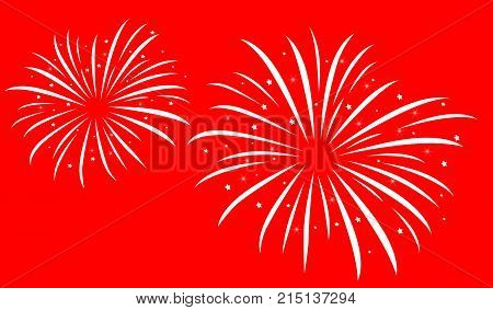 Festive firework bursting shape, white firework pictograms on red background. New Year firework abstract isolated illustration, Party fun firework celebration. Firework show.