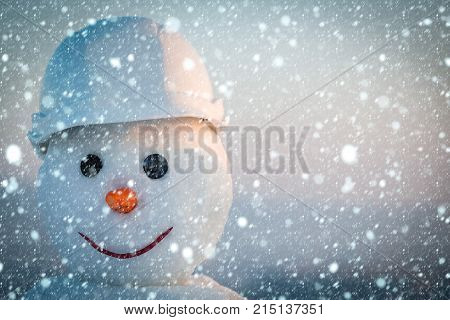 New Year Snowman From Snow In Winter.
