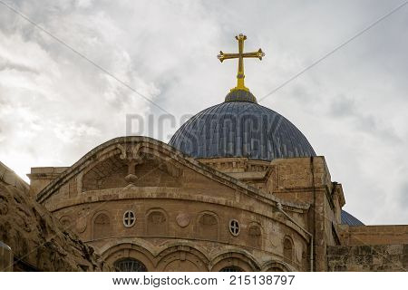 The top of dome on Church of the Holy Sepulchre Jerusalem Israel
