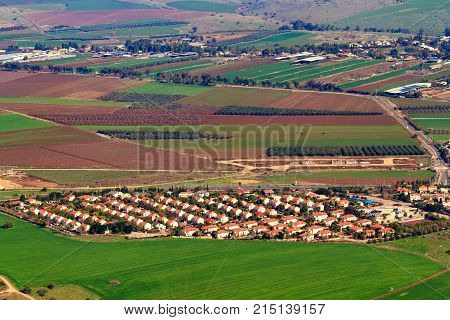 View from Mount Tabor to small Kibbutz Alonim in Northern Israel