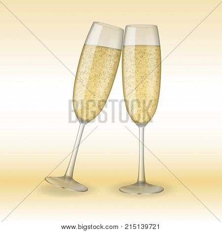 Two glasses of champagne. Holiday, Merry Christmas and Happy New Year champagne concept. Vector Illustration of champagne glasses. EPS 10