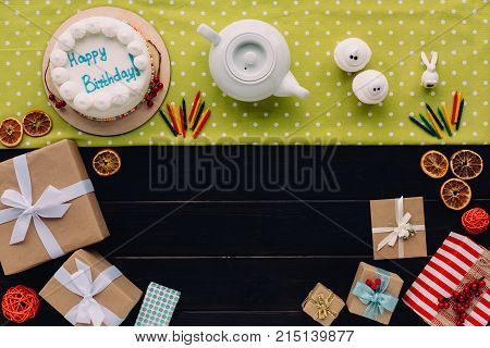 Present Boxes And Birthday Cake