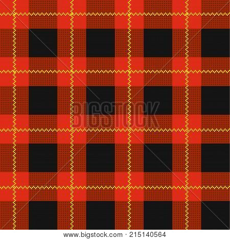 Lumberjack plaid pattern. Red tartan seamless vector background. Alternating overlapping black and colored cells. Template for clothing fabrics.