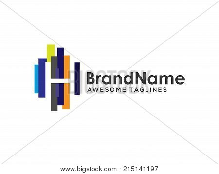 letter h logo with colorful paint stripes, Letter h logo colorful strips design template elements. Logo initial letter h Business corporate