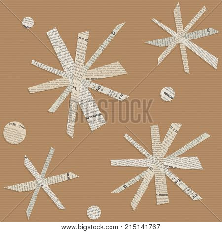 Seamless vector pattern of snowflakes cut out from newsprint paper on the background of brown corrugated cardboard.