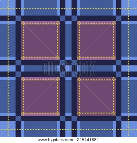 Traditional tartan. Seamless Scottish plaid checkered vector pattern. Retro textile collection. Blue lumberjack fabric texture design.