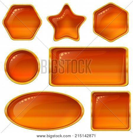 Set of Glass Buttons with Golden Frames, Computer Icons of Different Shapes, Elements for Web Design, Isolated on White Background. Vector