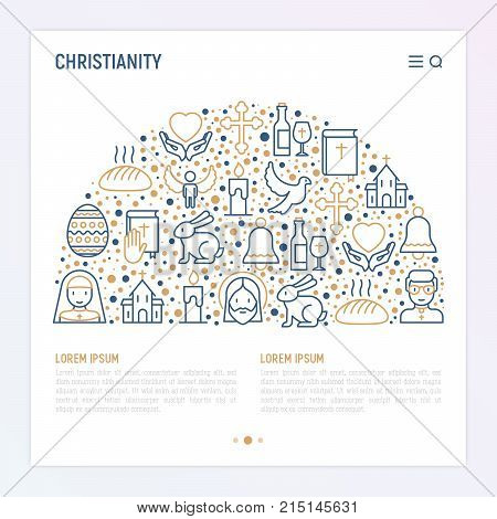 Christianity concept in half circle with thin line icons of priest, church, nun, crucifixion, Jesus, bible, dove. Vector illustration for banner, web page, print media.
