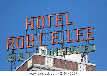 January 8, 2016 San Antonio, Texas: the Robert E. Lee hotel is listed on the national register of historic places