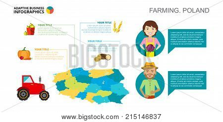 Farming in Poland process chart. Business data. Product, diagram, design. Creative concept for infographic, templates, presentation. Can be used for topics like production, agriculture, farming.