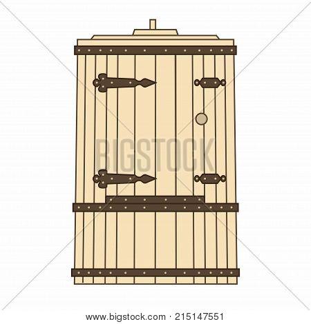 Phyto barrel. Hot tub (cedar barrel). Bath and sauna. Spa procedures. Vector isolation.