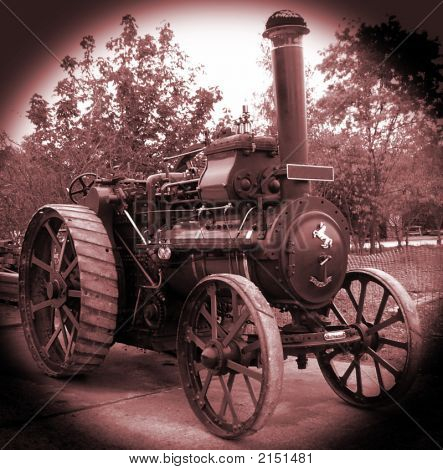 Old Style Image Of A Steam Traction Engine