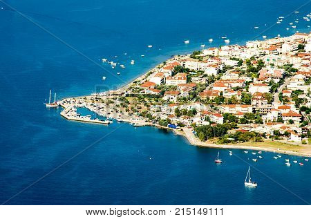 Panorama view cape of Kamena Vourla city and Aegean sea tourist destination in Greece.