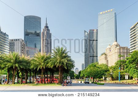Wonderful View Of A City Park Among Modern Buildings, Guangzhou
