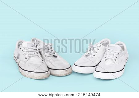pair of clean and dirty sneakers on a red background, located next to each other
