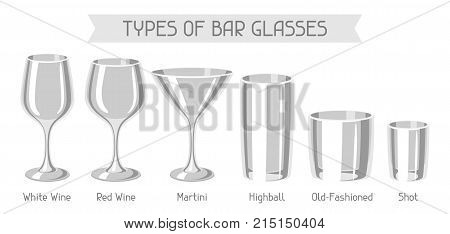 Types of bar glasses. Set of alcohol glassware.