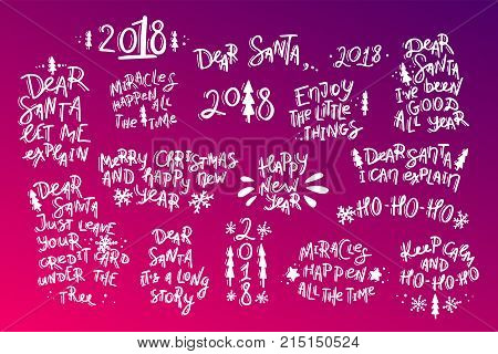 Set of Christmas and New Year hand drawn lettering quotes. Stock vector