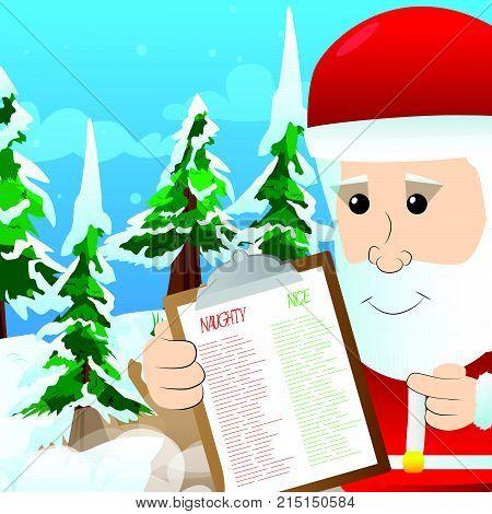 Santa Claus showing naughty or nice list . Vector cartoon character illustration.
