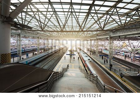Seoul South Korea - November 8 2017 : High-speed bullet trains arrived at platform in Seoul station South Korea.