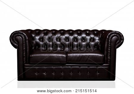 Vintage old dark brown leather sofa isolated on white background