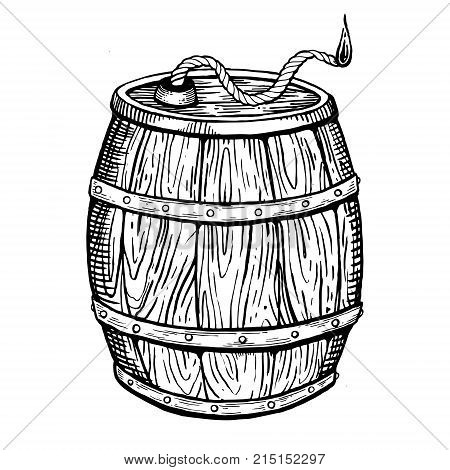 Powder keg with burning wick engraving vector illustration. Scratch board style imitation. Hand drawn image.