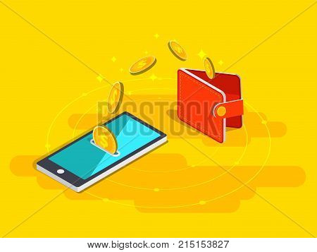 Money Transfer From Wallet Into Cellphone In Isometric Vector Design. Digital Payment Or Online Cash