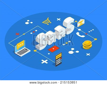 Saas Isometric Vector Illustration. Software As Service Or On-demand Concept Background. Cloud Compu