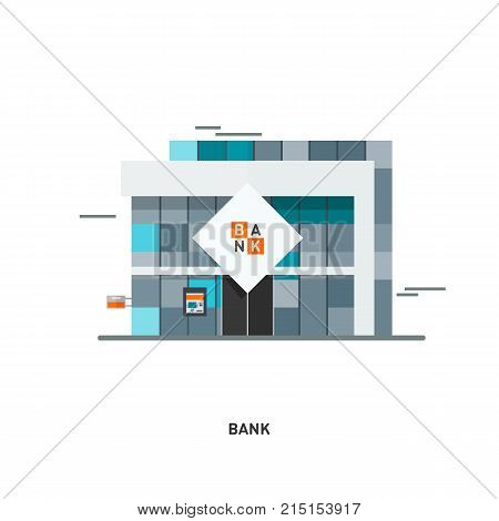 Bank finance building illustration icon isolated on the white background. Banking finance building. Flat vector illustration