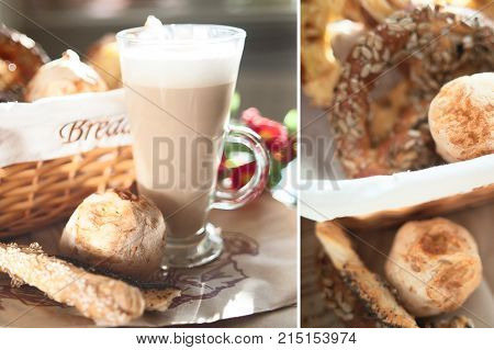 Fresh crispy buns and croissants in a wicker basket and frothy cappuccino