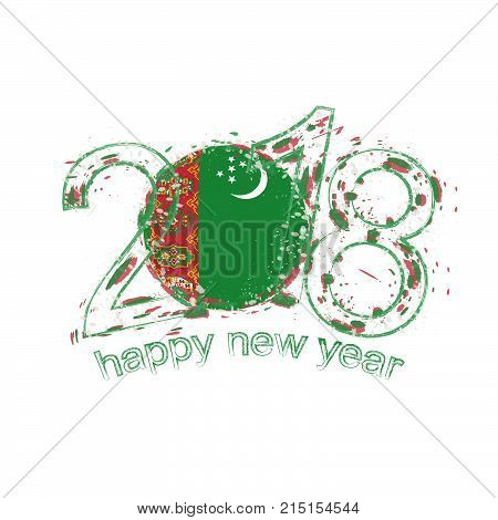 2018 Happy New Year Turkmenistan Grunge Vector Template For Greeting Card And Other.