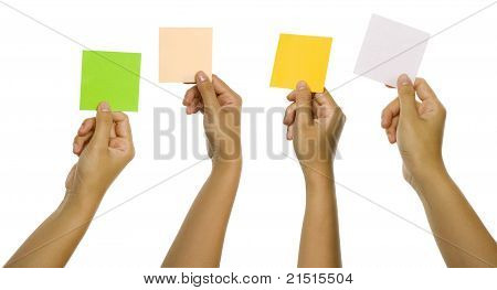 Four Images Of Hands Holding Color Cards