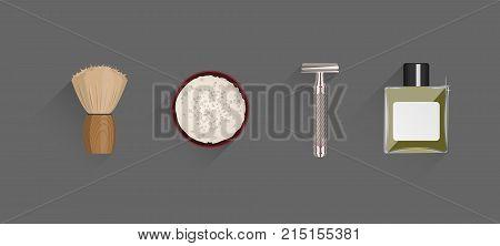 A set of men's accessories for shaving. Shaving brush, shaving foam, T-shape razor and After Shave Lotion. Double edge blade razor shaver. Flat vector illustration
