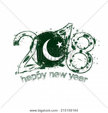 2018 Happy New Year Pakistan Grunge Vector Template For Greeting Card And Other.