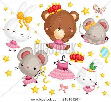 a vector set of many animal in ballet costume