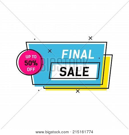 Final sale and fifty percent off lettering in frame. Inscription can be used for leaflets, posters, banners
