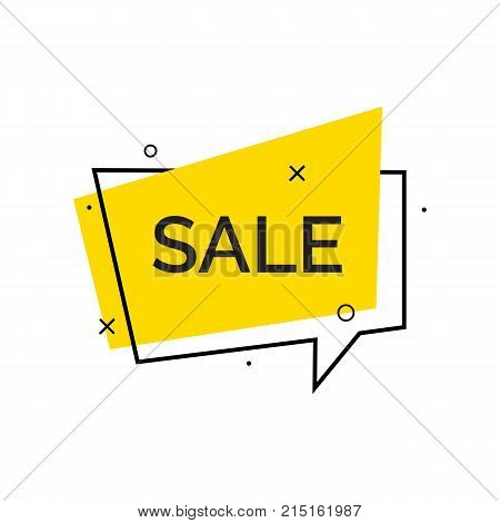 Sale creative lettering on bubble speech. Inscription can be used for leaflets, posters, banners.
