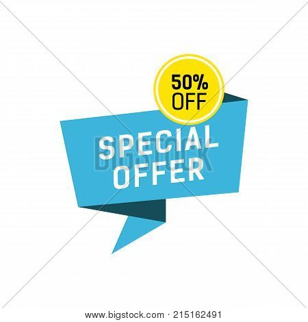 Special offer and fifty percent off lettering on origami speech bubble. Inscription can be used for leaflets, posters, banners.