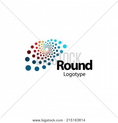 Unusual brain, circular abstract logo. New digital technology round logotype. Computer innovation sign. Circle vector shapes. Colorful art science symbol
